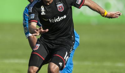 D.C. United's Nick DeLeon in action in the second period against the Philadelphia Union on Saturday, Sept. 27, 2014 at RFK Stadium in Washington, D.C. Luis Silva's goal in the 10th minute was enough to lift United to a 1-0 win over the Philadelphia Union at RFK Stadium. (Pete Marovich for the Washington Times)