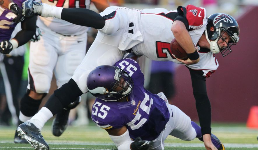 Minnesota Vikings outside linebacker Anthony Barr (55) tackles Atlanta Falcons quarterback Matt Ryan during the second half of an NFL football game, Sunday, Sept. 28, 2014, in Minneapolis. (AP Photo/Jim Mone)