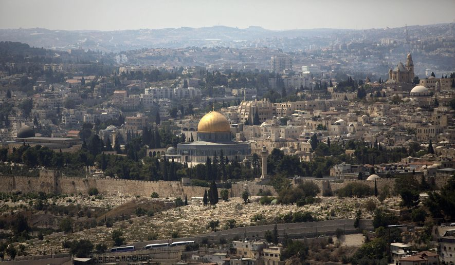 FILE - In this Monday, Sept. 9, 2013 file photo, the Dome of the Rock Mosque in the Al Aqsa Mosque compound, known by the Jews as the Temple Mount, is seen in Jerusalem's Old City. (AP Photo/Sebastian Scheiner, File) **FILE**