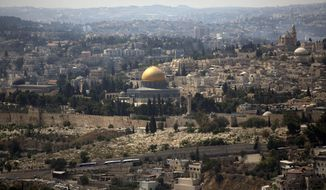 FILE - In this Monday, Sept. 9, 2013 file photo, the Dome of the Rock Mosque in the Al Aqsa Mosque compound, known by the Jews as the Temple Mount, is seen in Jerusalem's Old City. (AP Photo/Sebastian Scheiner, File)