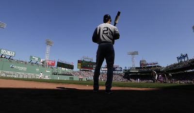 New York Yankees designated hitter Derek Jeter prepares to face Boston Red Sox starting pitcher Joe Kelly in the first inning of a baseball game at Fenway Park in Boston, Saturday, Sept. 27, 2014. (AP Photo/Charles Krupa)