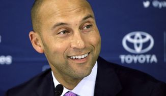 New York Yankees' Derek Jeter speaks to the media after the last baseball game of his career, against the Boston Red Sox Sunday, Sept. 28, 2014, at Fenway Park in Boston. Jeter had an RBI single in the Yankees' 9-5 win. (AP Photo/Steven Senne)