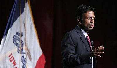 Louisiana Gov. Bobby Jindal speaks during the Iowa Faith and Freedom Coalition fall fundraiser on Saturday, Sept. 27, 2014, in Des Moines, Iowa. (AP Photo/Justin Hayworth)