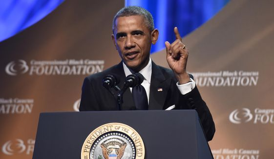 President Barack Obama speaks at the Congressional Black Caucus Foundation's 44th Annual Legislative Conference Phoenix Awards Dinner in Washington, Saturday, Sept. 27, 2014. Obama told the audience that the mistrust of law enforcement that was exposed after the fatal police shooting in Ferguson, Missouri, has a corrosive effect on all of America, not just on black communities. (AP Photo/Susan Walsh)