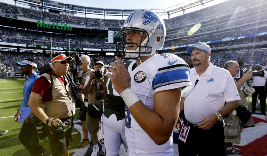 Detroit Lions quarterback Matthew Stafford walks on the field after an NFL football game against the New York Jets, Sunday, Sept. 28, 2014, in East Rutherford, N.J. The Lions won 24-17. (AP Photo/Frank Franklin II)