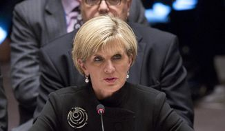 In this Sept. 19, 2014, file photo, Australia's Foreign Minister Julie Bishop address a meeting of the U.N. Security Council on Iraq, at the United Nations headquarters. (AP Photo/Bebeto Matthews, File)