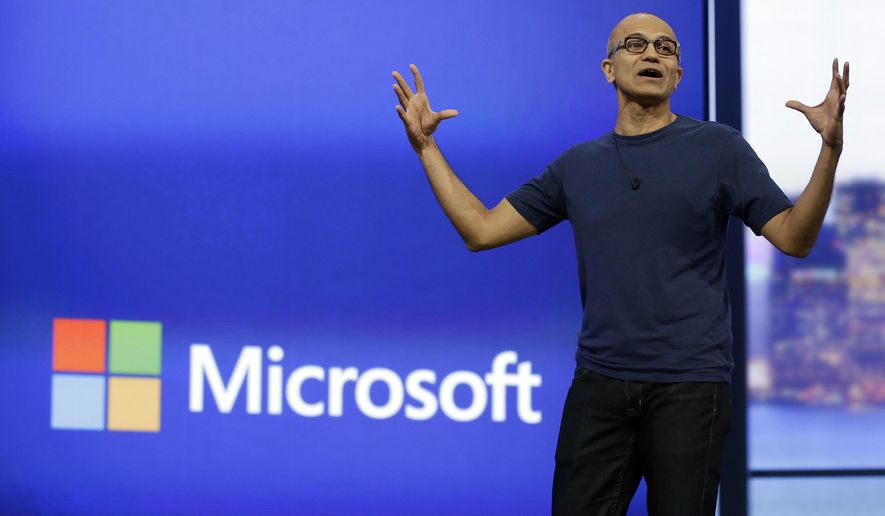In this April 2, 2014 file photo, Microsoft CEO Satya Nadella gestures during the keynote address of the Build Conference in San Francisco. Microsoft plans to offer a glimpse of its vision for Windows on Tuesday, Sept. 30, 2014, as Nadella seeks to redefine the company and recover from missteps with its flagship operating system. (AP Photo/Eric Risberg, File)FILE -