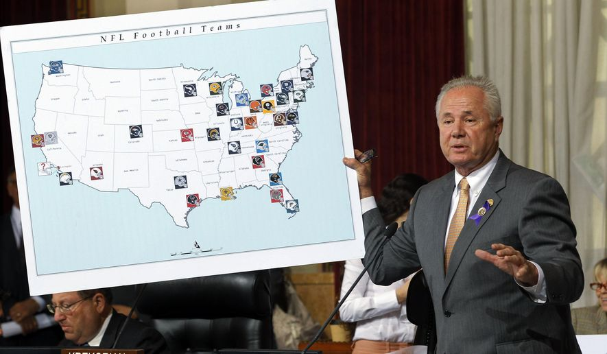 FILE - In this Oct. 9, 2013, file photo, Los Angeles City Council member Tom LaBonge displays a visual aid showing locations of NFL football teams at City Hall in Los Angeles. Council members voted 14-0 Wednesday for a resolution saying it is in the interests of both the city and the league to bring a team to Los Angeles. Entertainment firm AEG announced Monday, Sept. 29, 2014, they have requested a six-month extension of the company's agreements with the city of Los Angeles to build a professional football stadium near Staples Center so they can continue negotiations with the NFL to secure a team. AEG's agreements with the city are set to expire on Oct. 18. (AP Photo/Nick Ut, File)