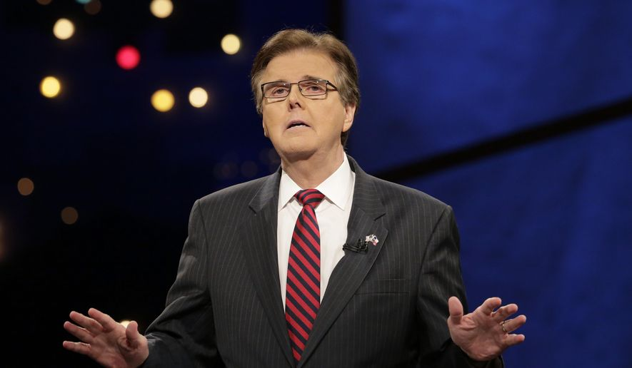 Then-state Sen. Dan Patrick, R-Houston, answers a questions during a televised debate with state Sen. Leticia Van de Putte, D-San Antonio, Monday, Sept. 29, 2014, in Austin, Texas. (AP Photo/Eric Gay, Pool) ** FILE **