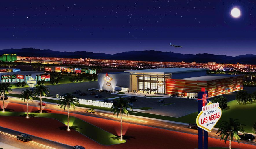 This undated architectural rendering provided by the Las Vegas Harley-Davidson shows Las Vegas Harley-Davidson, a dealership located next to the Welcome to Fabulous Las Vegas sign. The 55,000-square-foot business is scheduled to open later this week and offers motorcycles, rentals, clothing and accessories. Owners say it's the first store on the Strip to sell the bikes. (AP Photo/Las Vegas Harley-Davidson)