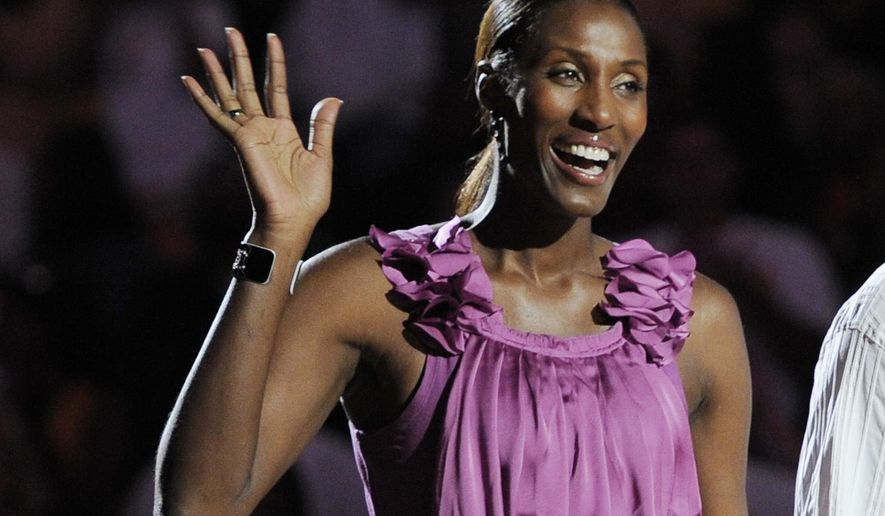 "FILE - This Aug. 10, 2010, file photo shows retired Los Angeles Sparks basketball player Lisa Leslie waving to the crowd during a ceremony to retire her jersey at halftime of a WNBA basketball game between the Indiana Fever and the Sparks in Los Angeles. ""We Need to Talk,"" an all-women sports talk show that is the first of its kind, premieres Tuesday amid NFL turmoil over the league's handling of domestic violence cases. The challenge is drawing viewers to CBS Sports Network, which is in fewer than half the country's homes with TVs. The panel will feature a core of CBS Sports announcers: Lesley Visser, Amy Trask, Tracy Wolfson, Dana Jacobson and Allie LaForce. (AP Photo/Chris Pizzello, File)"