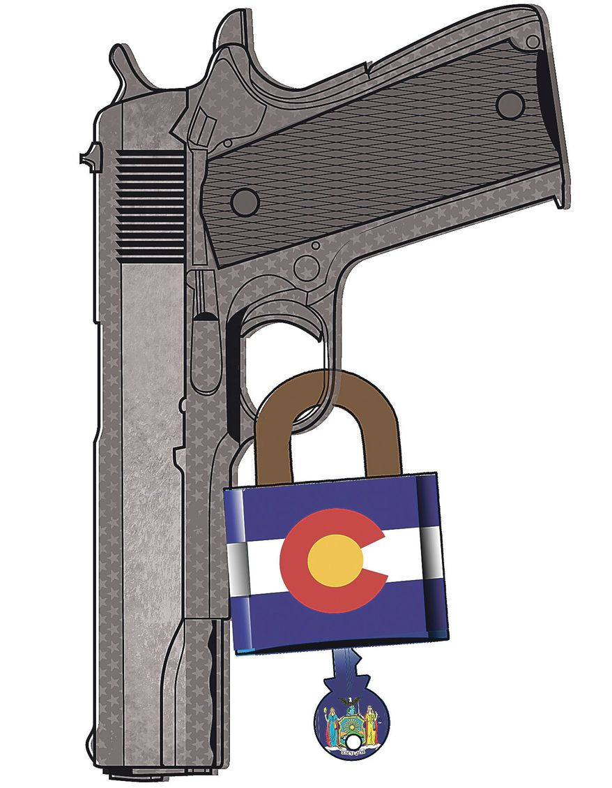 Illustration on gun control in Colorado by Linas Garsys/The Washington Times
