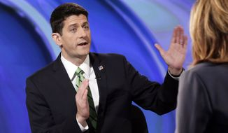 """Rep. Paul Ryan, R-Wisc., is interviewed by Maria Bartiromo during her """"Opening Bell With Maria Bartiromo"""" program on the Fox Business Network, in New York, Monday, Sept. 29, 2014. (AP Photo/Richard Drew)"""