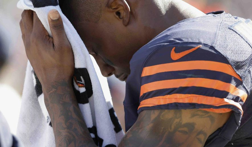 Chicago Bears wide receiver Brandon Marshall (15) wipes his head in the second half of an NFL football game against the Green Bay Packers Sunday, Sept. 28, 2014, in Chicago. The Packers won 38-17. (AP Photo/Nam Y. Huh)