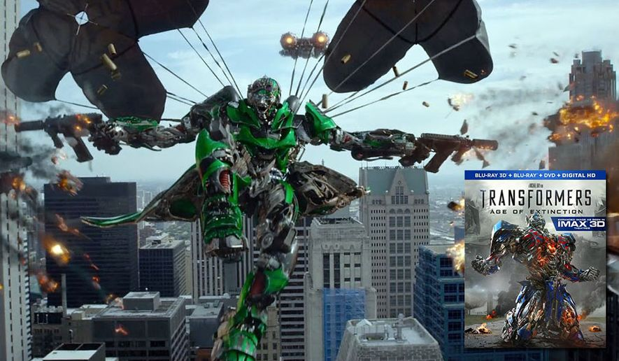 The Autobot Crosshairs attacks in the movie Transformers: Age of Extinction from Paramount Home Entertainment and now available on the Blu-ray format.
