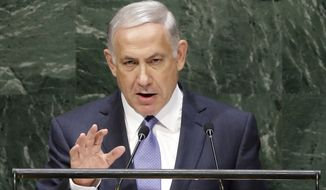 Benjamin Netanyahu, Prime Minister of Israel, speaks during the 69th session of the United Nations General Assembly at U.N. headquarters, Monday, Sept. 29, 2014. (AP Photo/Seth Wenig) **FILE**