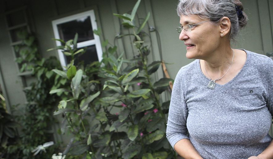 In this Sept. 10, 2014 photo, Sycamore, Ill., resident Janet Giesen looks around her native garden in the backyard of her house where she raises monarch butterflies. Giesen has released five monarchs since the end of July, and currently has 11 in chrysalis form and one monarch she will release when temperatures increase. (AP Photo/Daily Chronicle, Danielle Guerra)  MANDATORY CREDIT