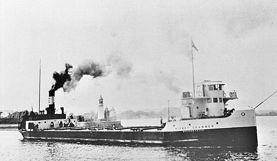 This undated photo provided by James Kennard shows the Nesbit Grammer on the St. Lawrence River in Quebec, Canada. The ship was launched in April 1923 and sank at the end of May 1926 after colliding with another steamship on Lake Ontario off western New York shore. A team of shipwreck explorers says it found the wreck of the Nesbit Grammer in late August 2014 in more than 500 feet of water about 8 miles from the shore of Somerset, N.Y. (AP Photo/courtesy of James Kennard)