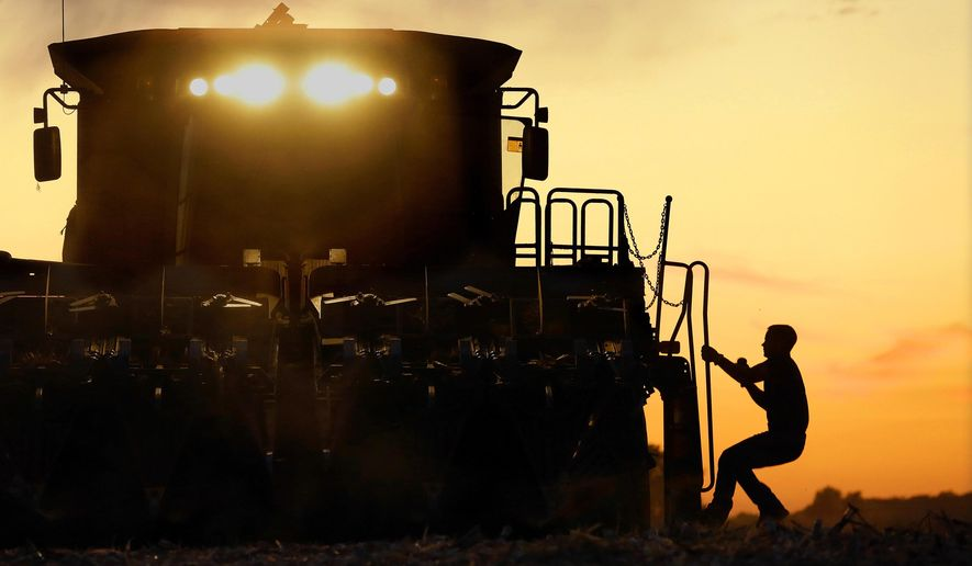 In this Saturday, Sept. 27, 2014 photo, a central Illinois corn farmer, climbing onto his combine, is silhouetted against the setting sun while harvesting this year's crop of corn in Pleasant Plains, Ill. The U.S. Department of Agriculture says Illinois' corn harvest continues creeping along, though recently favorable weather enabled growers to spend more time bringing in the crop. Earlier this month wet, cool conditions across much of Illinois put farmers behind schedule in bringing their corn in from the fields. (AP Photo/Seth Perlman)