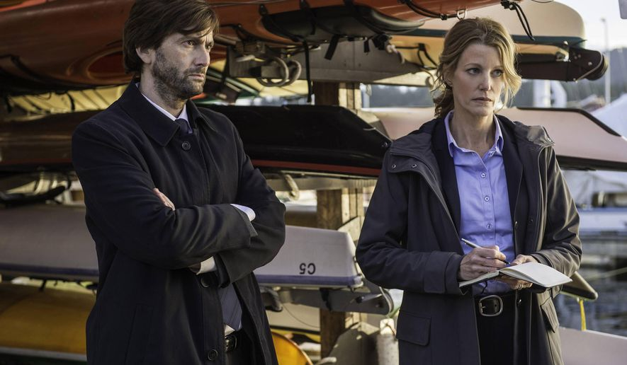 """This photo released by Fox shows David Tennant, left, Detective Emmett Carver and Anna Gunn, Detective Ellie Miller as they interview Jack Reinhold in the Event Series Premiere of """"Gracepoint,"""" airing Thursday, Oct. 2, 2014, (9:00-10:00 PM ET/PT) on Fox. (AP Photo/Fox, Ed Araquel)"""