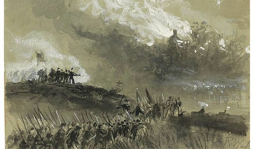 The burning of a farm in the Shenandoah Valley, 1864, detail from a contemporary field sketch by Alfred Waud