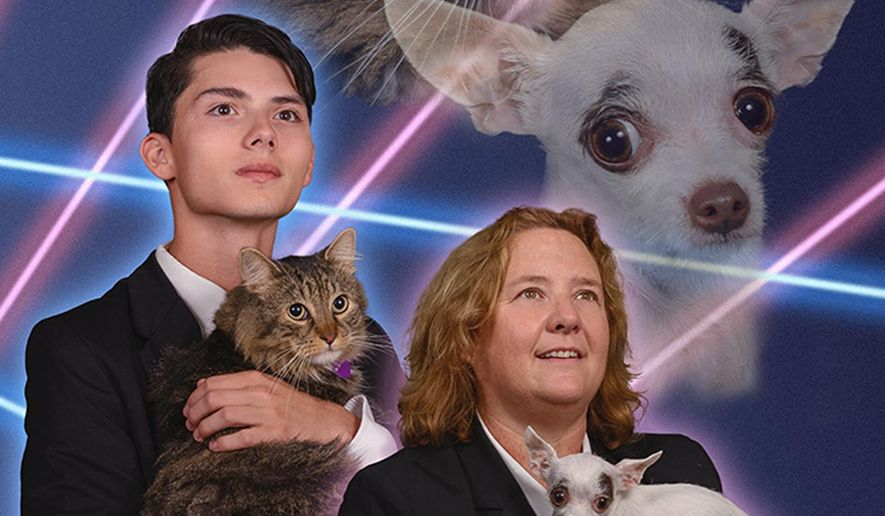This composite image made from multiple photogaphs taken on Sept. 22, 2014 in Schenectady, N.Y., constructed and provided by the photographer Vincent Giordano of Trinacria Photography, shows Schenectady High School senior Draven Rodriguez holding his cat Mr. Bugglesworth, along with Schenectady High School principal Diane Wilkinson holding her Chihuahua, Vivienne. The 16-year-old had originally wanted his senior yearbook portrait to show him holding his cat, with lasers in the background, but the school denied his request. Instead, this constructed image of Rodriguez and Wilkinson and their pets will appear on the principal's yearbook page, to raise awareness for the American Society for the Prevention of Cruelty to Animals and rescue animals. (AP Photo/Trinacria Photography, Vincent Giordano) MANDATORY CREDIT