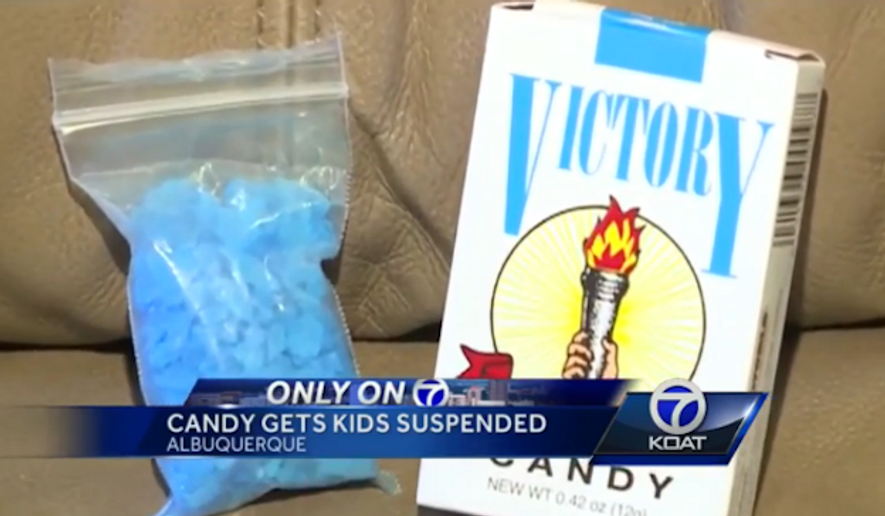 Two elementary students were suspended in Albuquerque, New Mexico last week after bringing rock candy to school that resembled crystal meth. (KOAT 7)