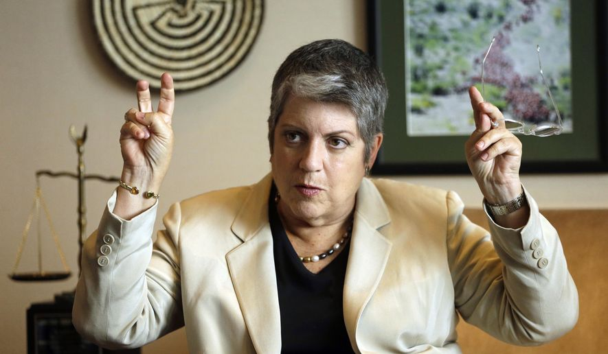 """University of California President Janet Napolitano gestures while speaking to a reporter Tuesday, Sept. 30, 2014, in Oakland, Calif. Marking her one-year anniversary as leader of the 10-campus public college system, the former Homeland Security secretary said she shares the concerns of Californians who watched the percentage of nonresidents accepted rise sharply during the recession and that UC needs to look at whether it has struck """"the right balance"""" between those higher-paying students and in-state students whose educations are partially funded by the state.  (AP Photo/Ben Margot)"""