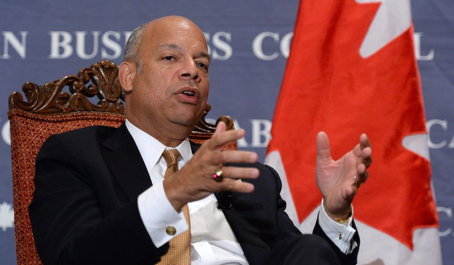 U.S. Secretary of Homeland Security Jeh Johnson speaks at the Canadian American Business Council in Ottawa on Tuesday, Sept. 30, 2014.  (AP Photo/The Canadian Press,Sean Kilpatrick)
