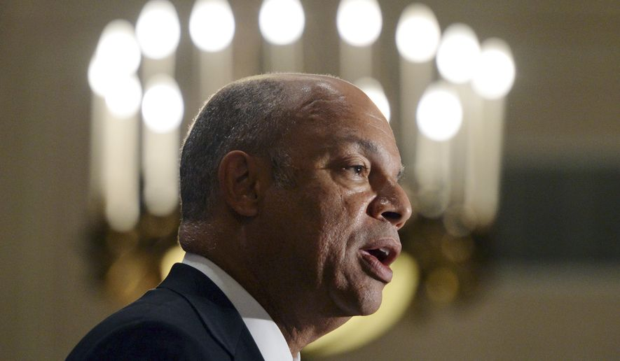 U.S. Secretary of Homeland Security Jeh Johnson speaks at the Canadian American Business Council in Ottawa, Ontario, Tuesday, Sept. 30, 2014. (AP Photo/The Canadian Press, Sean Kilpatrick) ** FILE **