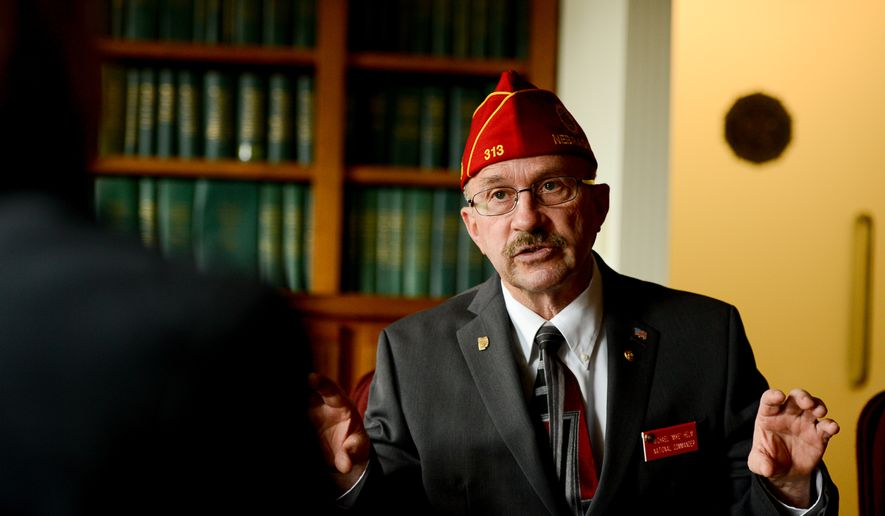 National Commander of the American Legion Michael Helm at their national headquarters, Washington, D.C., Tuesday. (Andrew Harnik/The Washington Times)