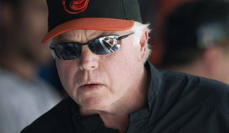 Baltimore Orioles manager Buck Showalter looks on in the dugout during the seventh inning of a baseball game against the Blue Jays in Toronto, Sunday, Sept. 28, 2014. The Orioles won 1-0. (AP Photo/The Canadian Press, Fred Thornhill)