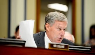 Rep. Mark Meadows (R-N.C.) questions Secret Service Director Julia Pierson as she testifies in front of the House Oversight and Government Reform Committee on Capitol Hill to discuss the recent White House perimeter breach when an armed Texas man made it into the White House earlier this month, Washington, D.C., Tuesday, September 30, 2014. (Andrew Harnik/The Washington Times)