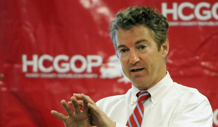 Sen. Rand Paul, Kentucky Republican, speaks at a Victory Ice Cream Social at Horry County GOP headquarters on Sept. 30, 2014. Paul is on a statewide tour to promote Republican candidates. (Associated Press/The Sun News, Charles Slate) **FILE**