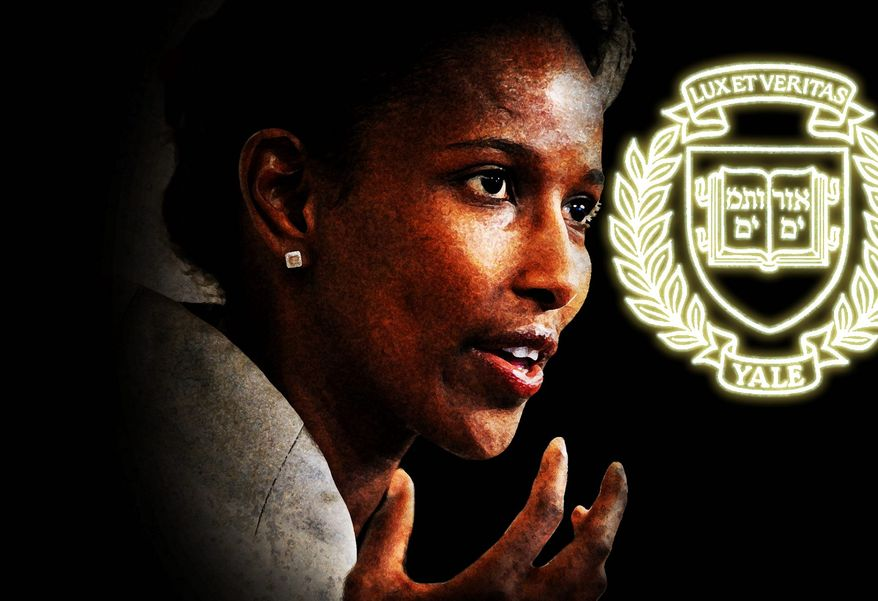Illustration on Ayaan Hirsi Ali speaking at Yale by Alexander Hunter/The Washington Times