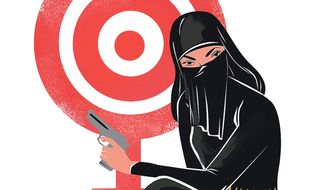 Illustration on Islamized women joining the ISIS cause by Linas Garsys/The Washington Times