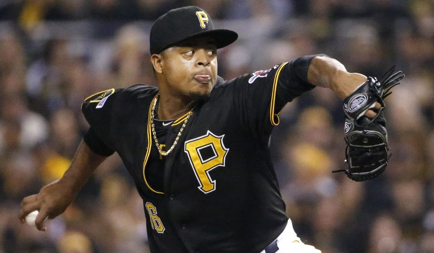 Pittsburgh Pirates starting pitcher Edinson Volquez throws against the San Francisco Giants during the first inning of a wild-card playoff baseball game Wednesday, Oct. 1, 2014, in Pittsburgh. (AP Photo/Gene J. Puskar)