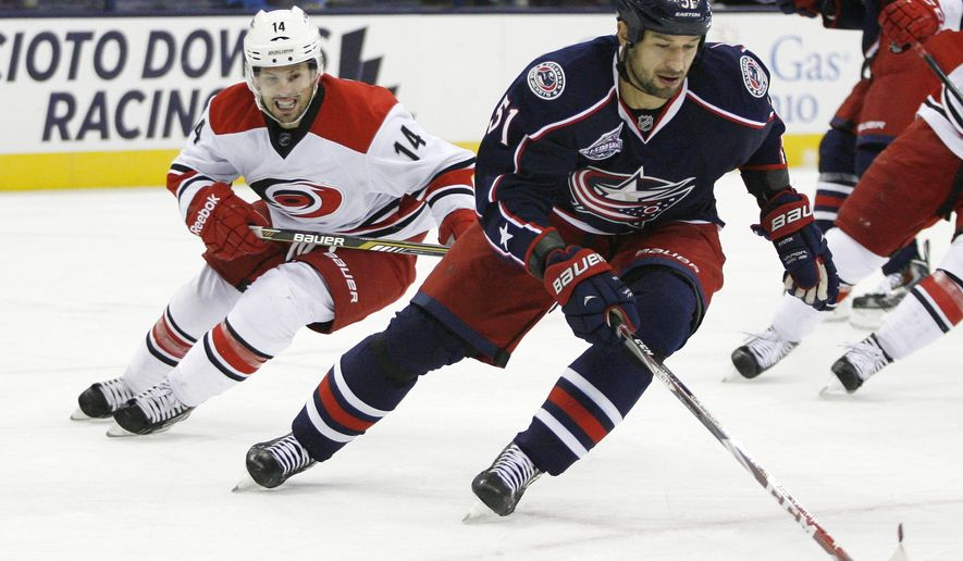 Columbus Blue Jackets' Fedor Tyutin (51) keeps the puck away from Carolina Hurricanes' Nathan Gerbe (14) during the first period of a preseason NHL hockey game, Wednesday, Oct. 1, 2014 in Columbus, Ohio. (AP Photo/Mike Munden)