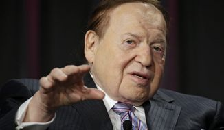 Las Vegas Sands Corp. CEO Sheldon Adelson speaks at the Global Gaming Expo, Wednesday, Oct. 1, 2014, in Las Vegas. (AP Photo/John Locher)  ** FILE **