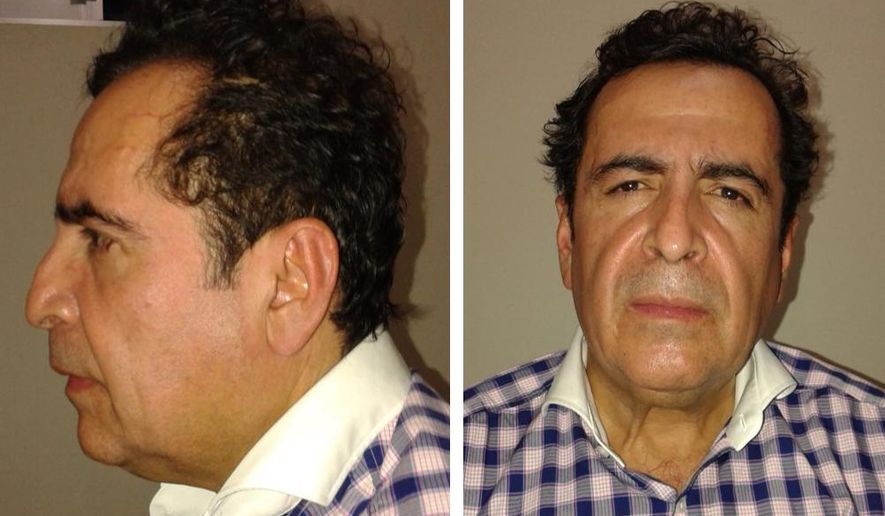This two-image composite released by Mexico's Attorney General's Office (PGR) on Wednesday Oct. 1, 2014, shows alleged cartel capo Hector Beltran Leyva after his arrest by Mexican law enforcement authorities. The purported head of the Beltran Levya drug gang was captured in a seafood eatery in San Miguel de Allende, a city in the central state of Guanajuato that is a popular enclave for artists and foreigners. No shots were fired in the brief operation, which culminated an 11-month investigation, authorities said. (AP Photo/ Mexico's Attorney General's Office)