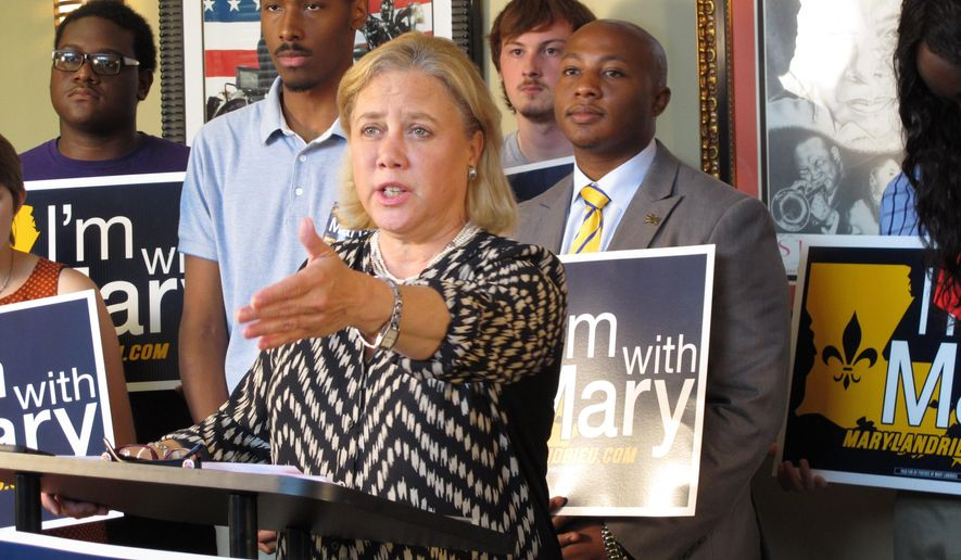 U.S. Sen. Mary Landrieu speaks about her college affordability initiative on Tuesday, Sept. 30, in Baton Rouge, La. The Democratic incumbent is reaching out to young voters as she battles in a tight fight for re-election. (AP Photo/Melinda Deslatte)