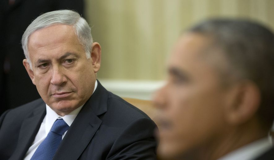 Israeli Prime Minister Benjamin Netanyahu listens as President Barack Obama speaks in the Oval Office of the White House Oct. 1, 2014. The two leaders have long had a prickly relationship. (AP Photo/Pablo Martinez Monsivais) **FILE**