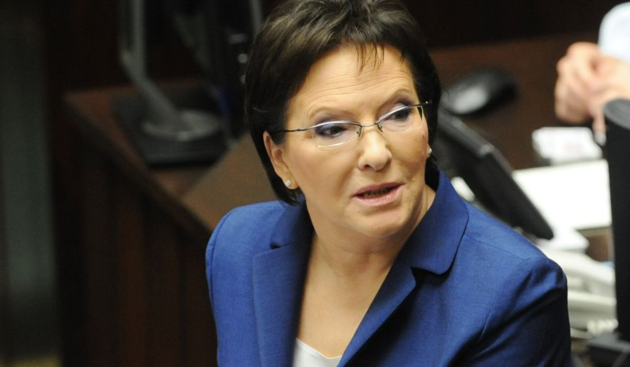 Poland's new prime minister Ewa Kopacz delivers her inaugural speech in the parliament in Warsaw, Poland, Wednesday, Oct. 1, 2014. Kopacz took over the post from Donald Tusk, who will head the European Council starting Dec. 1. (AP Photo/Alik Keplicz)