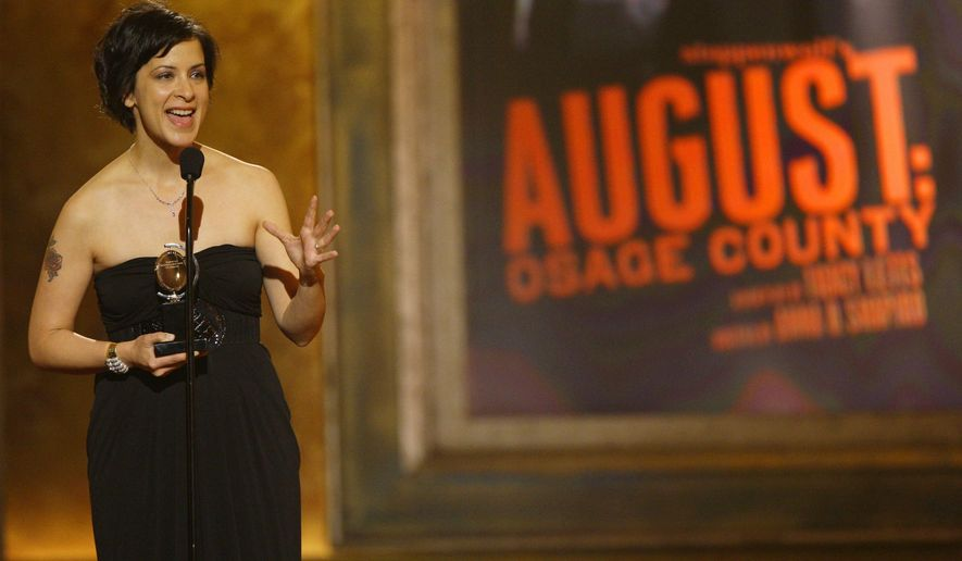 """FILE - In this June 15, 2008 file photo, director Anna D. Shapiro accepts her award for best direction of a play for her work on """"August: Osage County,"""" during the 62nd Annual Tony Awards in New York. The Steppenwolf Theatre Company said Thursday, Oct. 2, 2014 that Shapiro will replace Martha Lavey, the theater's artistic director since 1995. She takes over at Steppenwolf in fall 2015. (AP Photo/Jeff Christensen, File)"""