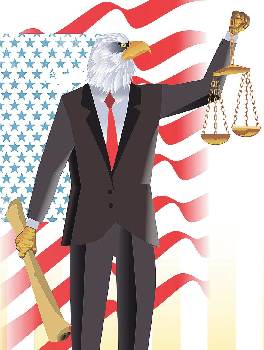 Illustration on a new attorney general as defender of the Constitution by Linas Garsys/The Washington Times