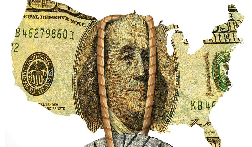 Illustration on the continued negative Obama economy by Alexander Hunter/The Washington Times