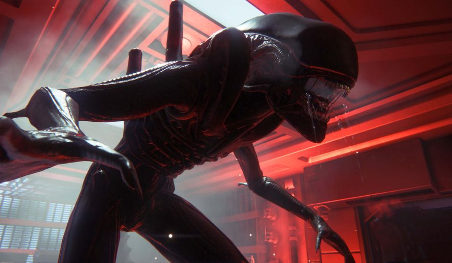 "This photo provided by Sega shows a scene from the video game, ""Alien: Isolation."" The video game out Tuesday, Oct. 7, 2014, aims to pay interactive tribute to filmmaker Ridley Scott's seminal 1979 sci-fi horror movie. (AP Photo/Sega)"