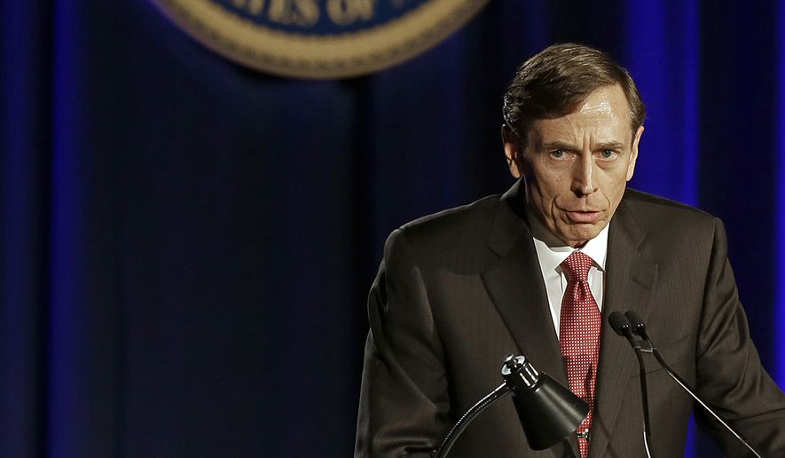 David H. Petraeus, former Army general and head of the Central Intelligence Agency, speaks at the annual dinner for veterans and ROTC students at the University of Southern California, in downtown Los Angeles on March 26, 2013. It marked Petraeus' first public remarks since he retired as head of the CIA after an extramarital affair scandal (Associated Press) **FILE**