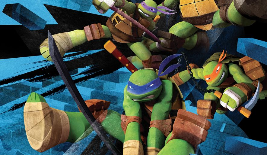 "This image released by Nickelodeon shows Ninja Turtles, clockwise from bottom, Leonardo, Donatello,  Raphael, and Michelangelo in  the animated series,""Teenage Mutant Ninja Turtles,"" on Nickelodeon. Seth Green voices the character Leonardo on Season 3 of ""Teenage Mutant Ninja Turtles"" on Fridays at 8 p.m.  (AP Photo/Nickelodeon)"
