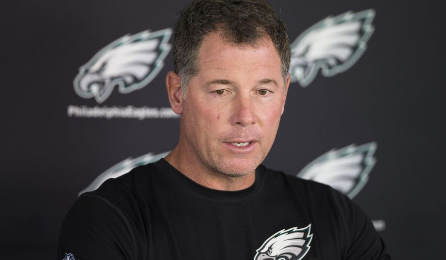 Philadelphia Eagles offensive coordinator Pat Shurmur speaks with members of the media during NFL football practice at the team's training facility, Tuesday, Sept. 30, 2014, in Philadelphia. (AP Photo/Matt Rourke)